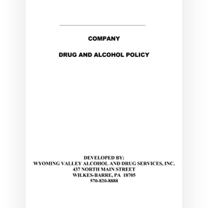 Comprehensive Industrial Drug and Alcohol Policies