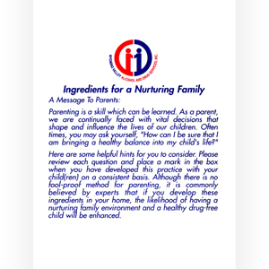Ingredients For A Nurturing Family (card)